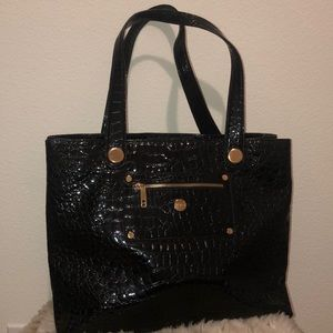 knomo Black Pebbled Patent  Tote